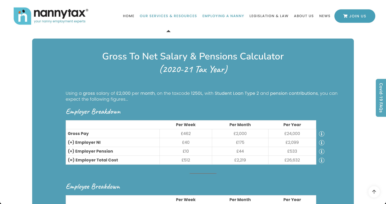 Salary Calculator Highlight | Nannytax