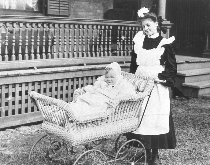 Victorian Era Nanny with Pram