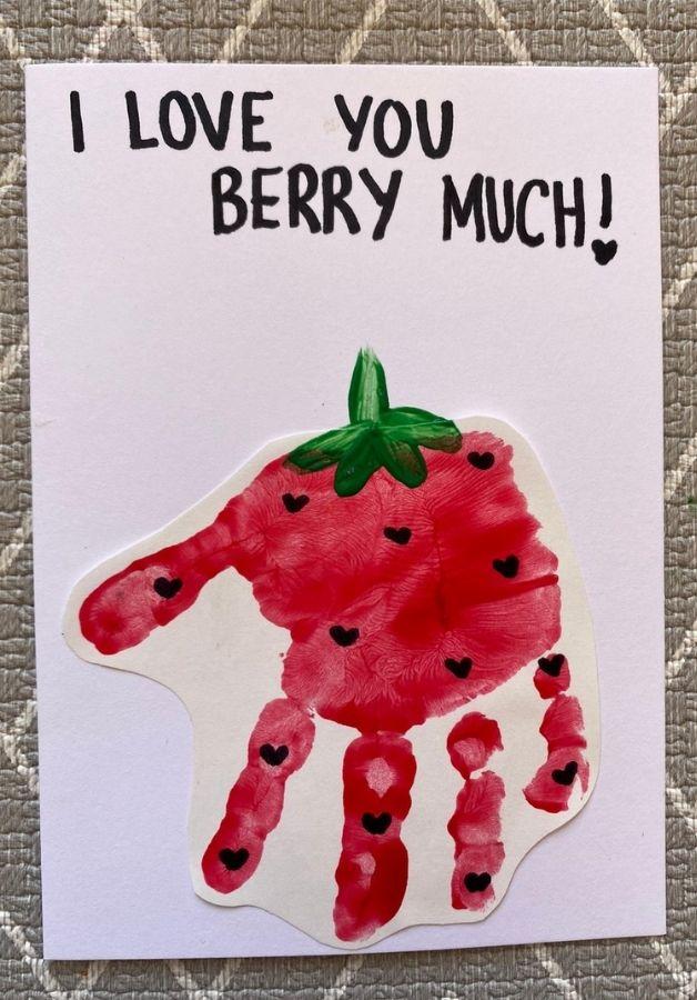 berry hand print card