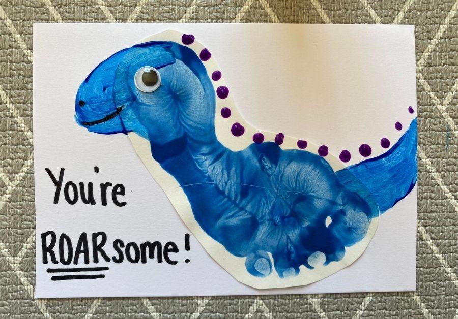 dinosaur hand print card